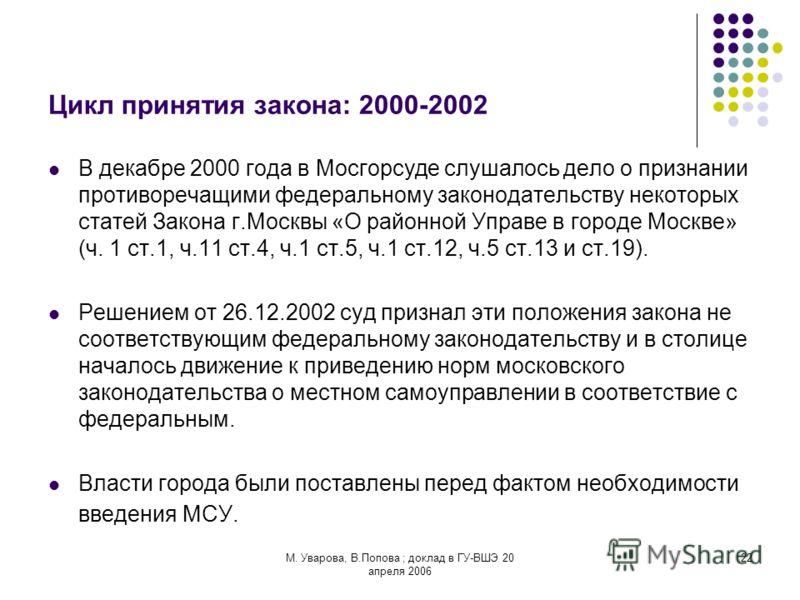 М. Уварова, В.Попова ; доклад в ГУ-ВШЭ 20 апреля 2006 22 Цикл принятия закона: 2000-2002 В декабре 2000 года в Мосгорсуде слушалось дело о признании противоречащими федеральному законодательству некоторых статей Закона г.Москвы «О районной Управе в г