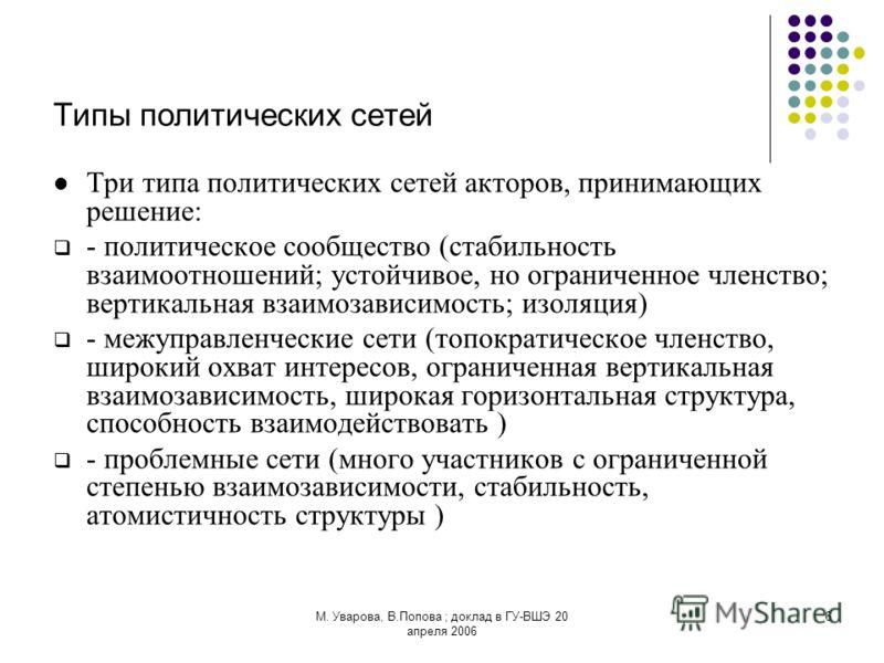 М. Уварова, В.Попова ; доклад в ГУ-ВШЭ 20 апреля 2006 6 Типы политических сетей Три типа политических сетей акторов, принимающих решение: - политическое сообщество (стабильность взаимоотношений; устойчивое, но ограниченное членство; вертикальная взаи