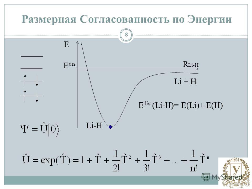 8 E R Li-H E dis Li-H Li + H Е dis (Li-H)= Е(Li)+ Е(H) Размерная Согласованность по Энергии