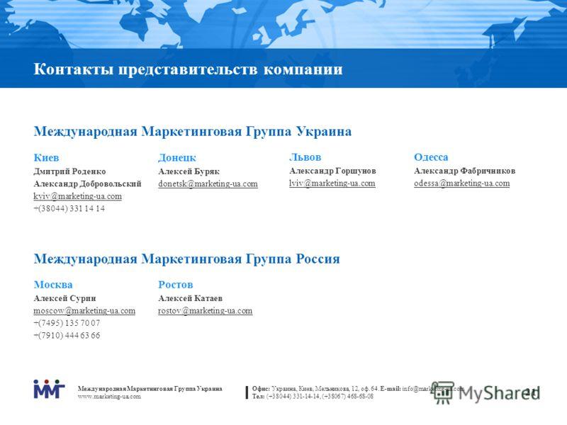 Международная Маркетинговая Группа Украина www.marketing-ua.com Офис: Украина, Киев, Мельникова, 12, оф. 64. E-mail: info@marketing-ua.com Тел: (+38044) 331-14-14, (+38067) 468-68-08 21 Контакты представительств компании Международная Маркетинговая Г