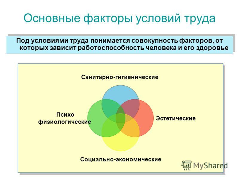 Основные факторы условий труда Санитарно-гигиенические Эстетические Социально-экономические Психо физиологические Под условиями труда понимается совокупность факторов, от которых зависит работоспособность человека и его здоровье