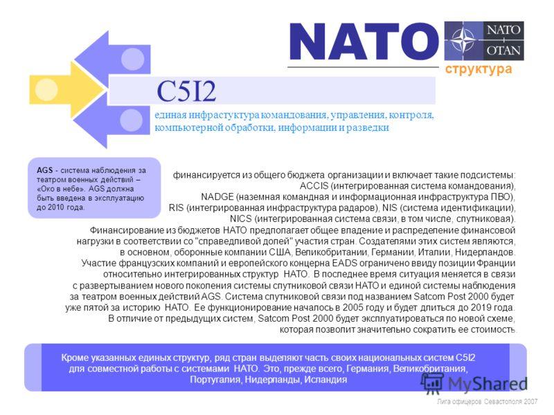 Лига офицеров Севастополя 2007 финансируется из общего бюджета организации и включает такие подсистемы: ACCIS (интегрированная система командования), NADGE (наземная командная и информационная инфраструктура ПВО), RIS (интегрированная инфраструктура