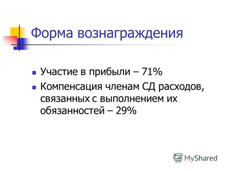 Форма вознаграждения Участие в прибыли – 71% Компенсация членам СД расходов, связанных с выполнением их обязанностей – 29%
