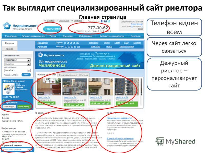 Так выглядит специализированный сайт риелтора Главная страница Телефон виден всем Через сайт легко связаться Дежурный риелтор – персонализирует сайт