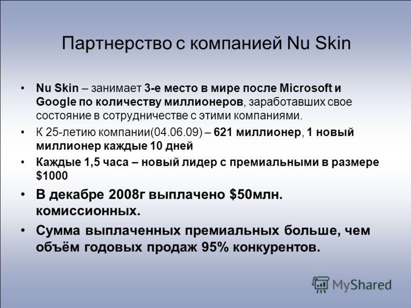 Партнерство с компанией Nu Skin Nu Skin – занимает 3-е место в мире после Microsoft и Google по количеству миллионеров, заработавших свое состояние в сотрудничестве с этими компаниями. К 25-летию компании(04.06.09) – 621 миллионер, 1 новый миллионер