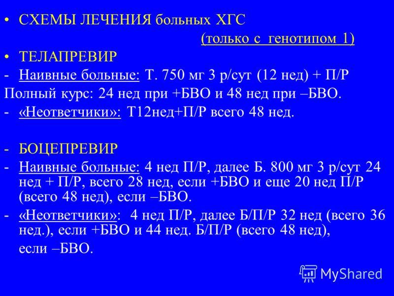 СХЕМЫ ЛЕЧЕНИЯ больных ХГС (только с генотипом 1) ТЕЛАПРЕВИР -Наивные больные: Т. 750 мг 3 р/сут (12 нед) + П/Р Полный курс: 24 нед при +БВО и 48 нед при –БВО. -«Неответчики»: Т12нед+П/Р всего 48 нед. -БОЦЕПРЕВИР -Наивные больные: 4 нед П/Р, далее Б.
