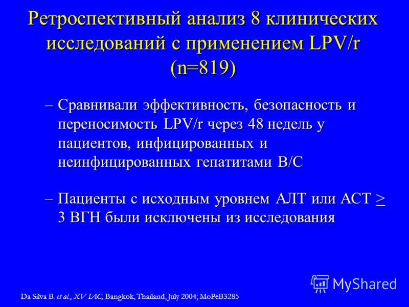 Ретроспективный анализ 8 клинических исследований с применением LPV/r (n=819) –Сравнивали эффективность, безопасность и переносимость LPV/r через 48 недель у пациентов, инфицированных и неинфицированных гепатитами B/C –Пациенты с исходным уровнем АЛТ