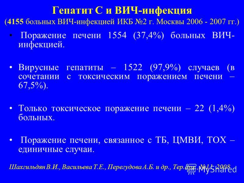 Гепатит С и ВИЧ-инфекция (4155 больных ВИЧ-инфекцией ИКБ 2 г. Москвы 2006 - 2007 гг.) Поражение печени 1554 (37,4%) больных ВИЧ- инфекцией. Вирусные гепатиты – 1522 (97,9%) случаев (в сочетании с токсическим поражением печени – 67,5%). Только токсиче