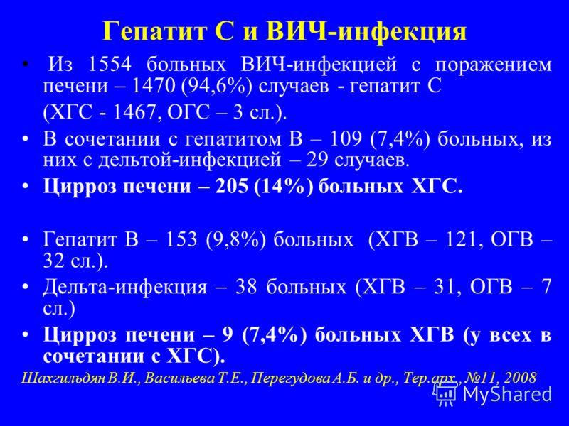 Гепатит С и ВИЧ-инфекция Из 1554 больных ВИЧ-инфекцией с поражением печени – 1470 (94,6%) случаев - гепатит С (ХГС - 1467, ОГС – 3 сл.). В сочетании с гепатитом В – 109 (7,4%) больных, из них с дельтой-инфекцией – 29 случаев. Цирроз печени – 205 (14%
