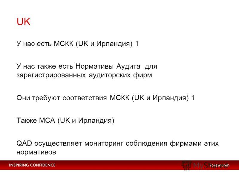 UK У нас есть МСКК (UK и Ирландия) 1 У нас также есть Нормативы Аудита для зарегистрированных аудиторских фирм Они требуют соответствия МСКК (UK и Ирландия) 1 Также МСА (UK и Ирландия) QAD осуществляет мониторинг соблюдения фирмами этих нормативов
