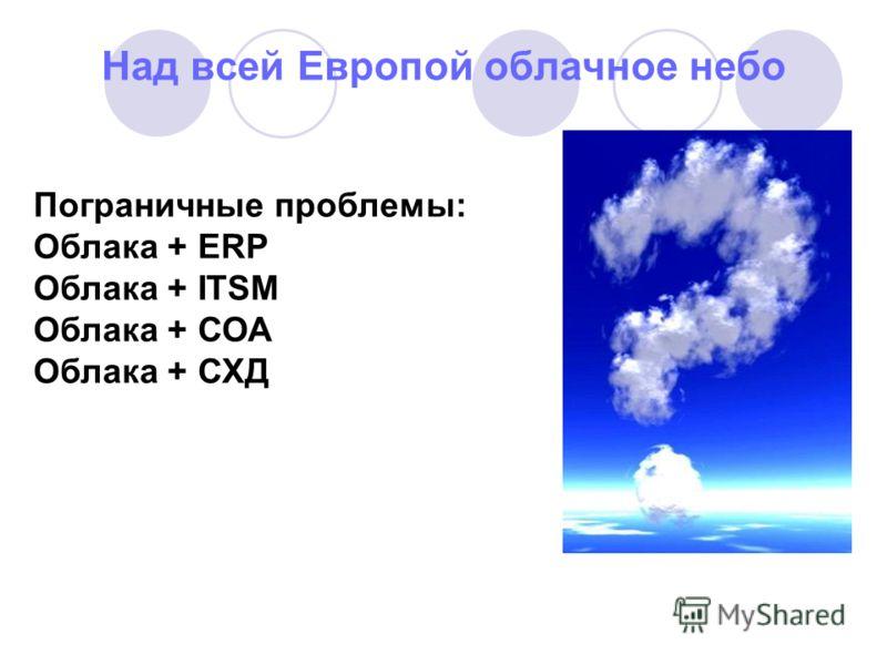 Над всей Европой облачное небо Пограничные проблемы: Облака + ERP Облака + ITSM Облака + СОА Облака + СХД
