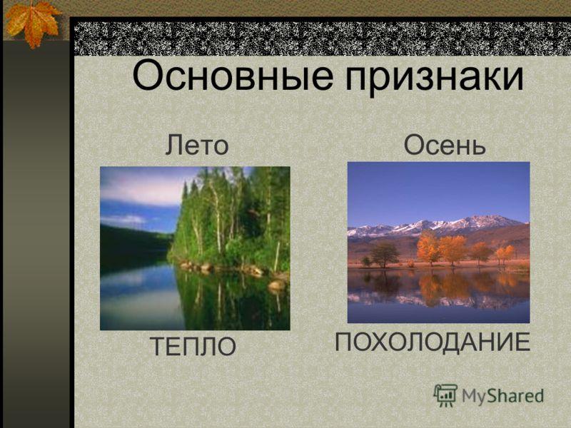 Основные признаки ЛетоОсень ТЕПЛО ПОХОЛОДАНИЕ