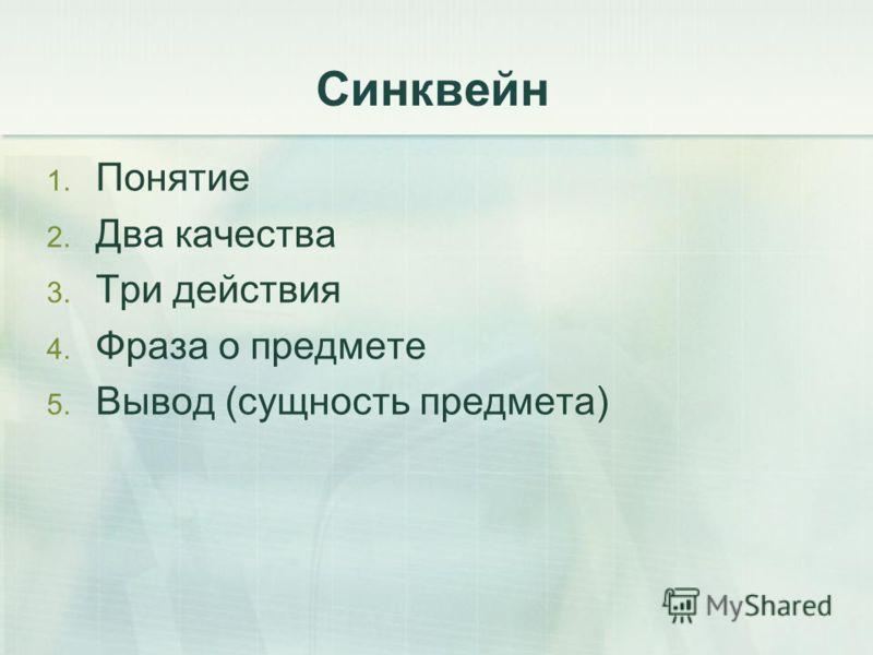 Синквейн 1. Понятие 2. Два качества 3. Три действия 4. Фраза о предмете 5. Вывод (сущность предмета)
