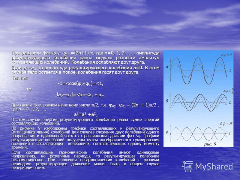 При разности фаз φ 02 - φ 01 =(2n+1) π, где n=0, 1, 2,..., амплитуда результирующего колебания равна модулю разности амплитуд составляющих колебаний. Колебания ослабляют друг друга. Если а 1 =а 2, то амплитуда результирующего колебания а=0. В этом сл