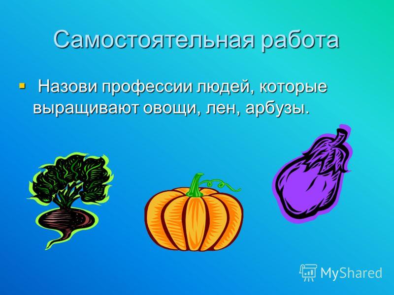 Самостоятельная работа Назови профессии людей, которые выращивают овощи, лен, арбузы. Назови профессии людей, которые выращивают овощи, лен, арбузы.