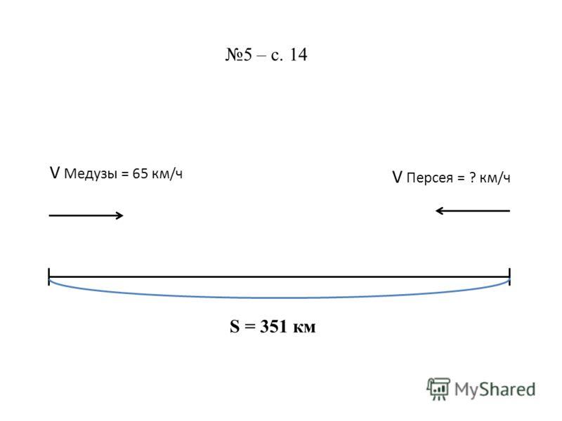 S = 351 км 5 – с. 14 V Медузы = 65 км/ч V Персея = ? км/ч