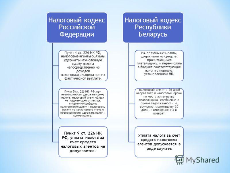 Налоговый кодекс Российской Федерации Пункт 4 ст. 226 НК РФ, налоговые агенты обязаны удержать начисленную сумму налога непосредственно из доходов налогоплательщика при их фактической выплате. Пункт 5 ст. 226 НК РФ, при невозможности удержать сумму н