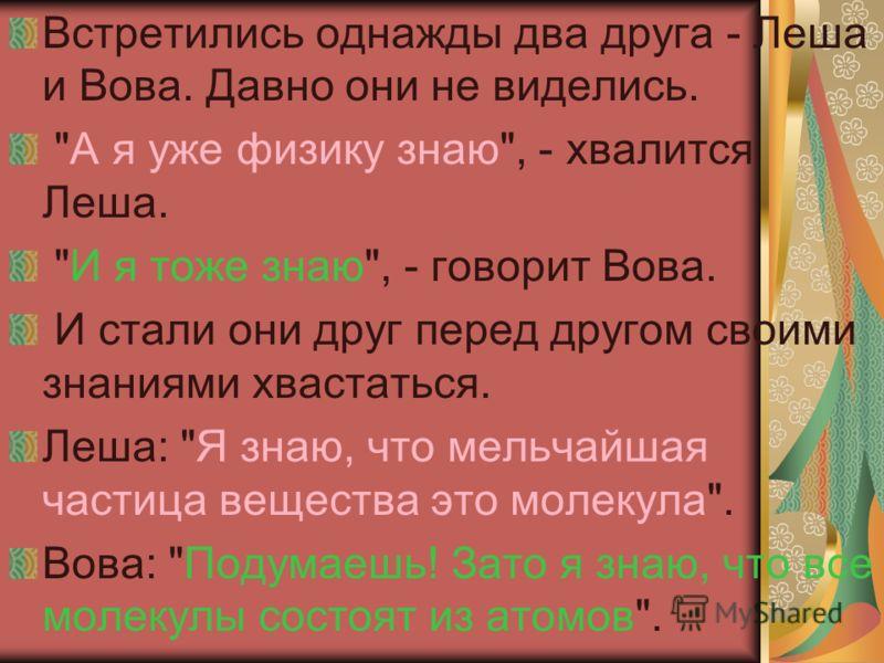 Встретились однажды два друга - Леша и Вова. Давно они не виделись.