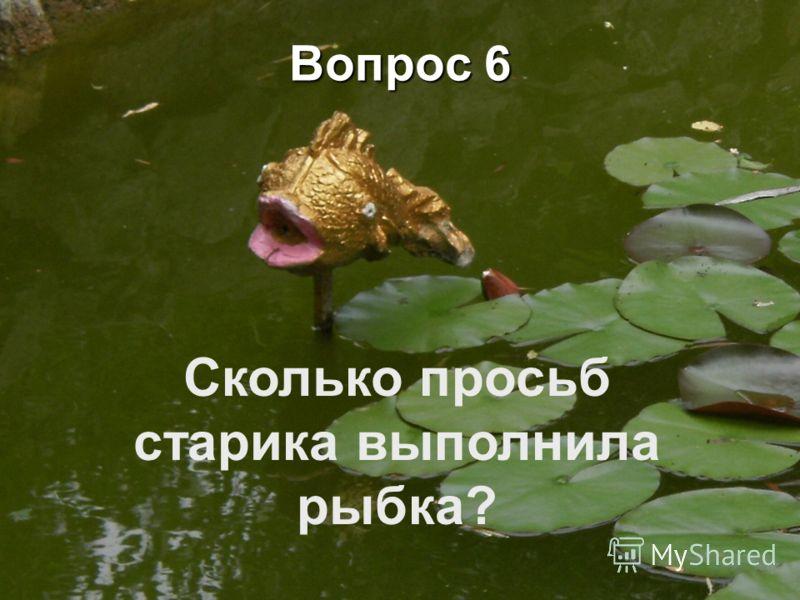 Вопрос 6 Сколько просьб старика выполнила рыбка?