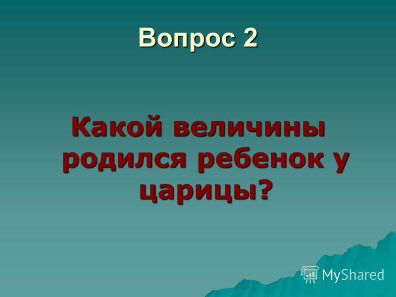 Вопрос 2 Какой величины родился ребенок у царицы?