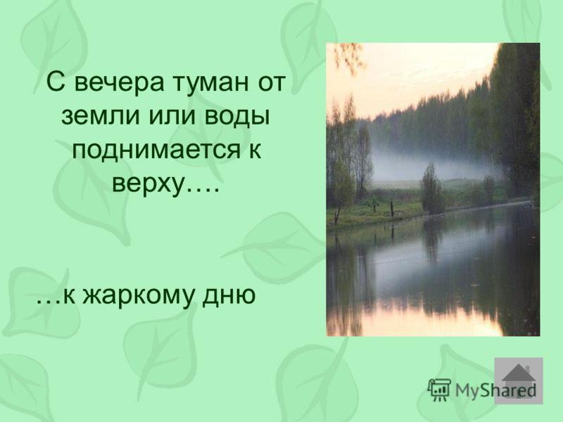 С вечера туман от земли или воды поднимается к верху…. …к жаркому дню