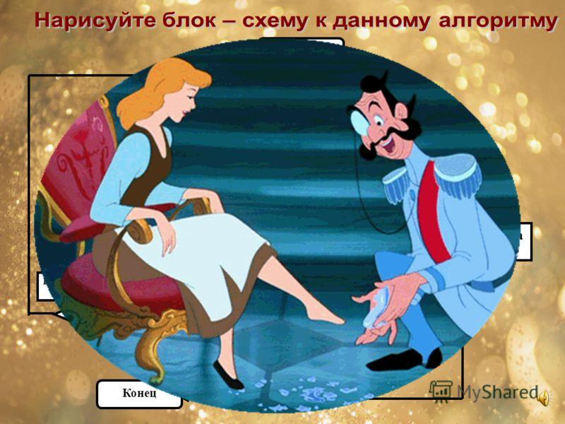 НАЧАЛО Примерить туфельку девушке Туфелька в пору? Принц женится на ней ДА НЕТ Примерить туфельку следующей девушке Конец ДА НЕТ