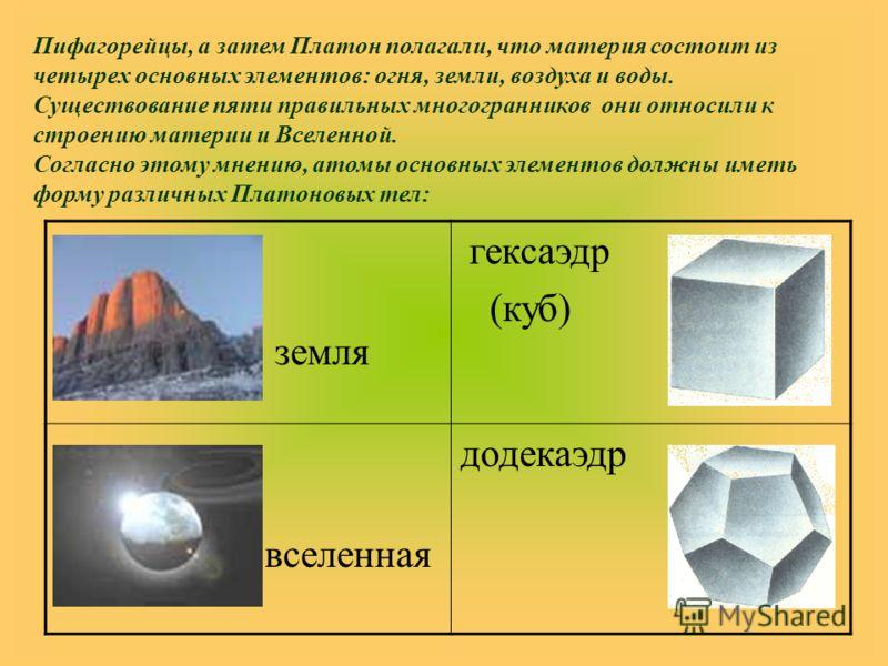 земля гексаэдр (куб) вселенная додекаэдр Пифагорейцы, а затем Платон полагали, что материя состоит из четырех основных элементов: огня, земли, воздуха и воды. Существование пяти правильных многогранников они относили к строению материи и Вселенной. С