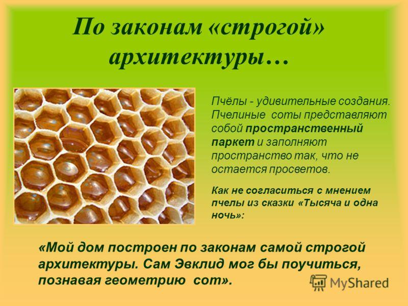 По законам «строгой» архитектуры… Пчёлы - удивительные создания. Пчелиные соты представляют собой пространственный паркет и заполняют пространство так, что не остается просветов. «Мой дом построен по законам самой строгой архитектуры. Сам Эвклид мог