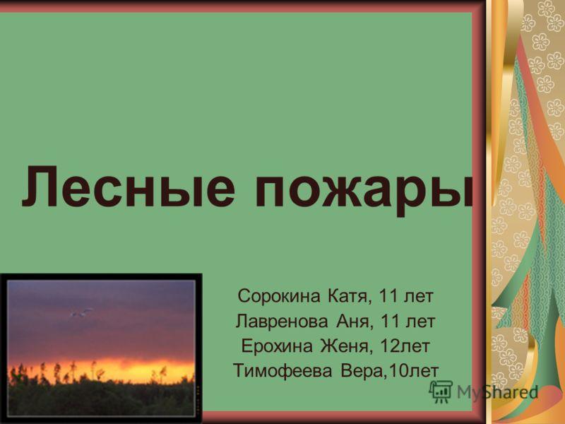 Лесные пожары Сорокина Катя, 11 лет Лавренова Аня, 11 лет Ерохина Женя, 12лет Тимофеева Вера,10лет