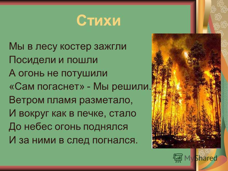 Стихи Мы в лесу костер зажгли Посидели и пошли А огонь не потушили «Сам погаснет» - Мы решили. Ветром пламя разметало, И вокруг как в печке, стало До небес огонь поднялся И за ними в след погнался.