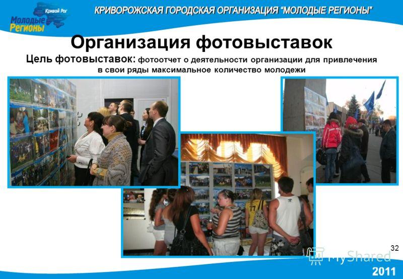Организация фотовыставок Цель фотовыставок: фотоотчет о деятельности организации для привлечения в свои ряды максимальное количество молодежи 32