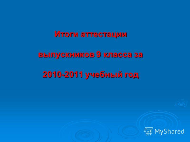 Итоги аттестации выпускников 9 класса за 2010-2011 учебный год