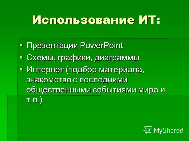 Использование ИТ: Презентации PowerPoint Презентации PowerPoint Схемы, графики, диаграммы Схемы, графики, диаграммы Интернет (подбор материала, знакомство с последними общественными событиями мира и т.п.) Интернет (подбор материала, знакомство с посл