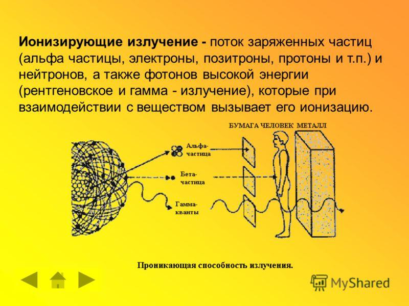 Ионизирующие излучение - поток заряженных частиц (альфа частицы, электроны, позитроны, протоны и т.п.) и нейтронов, а также фотонов высокой энергии (рентгеновское и гамма - излучение), которые при взаимодействии с веществом вызывает его ионизацию.