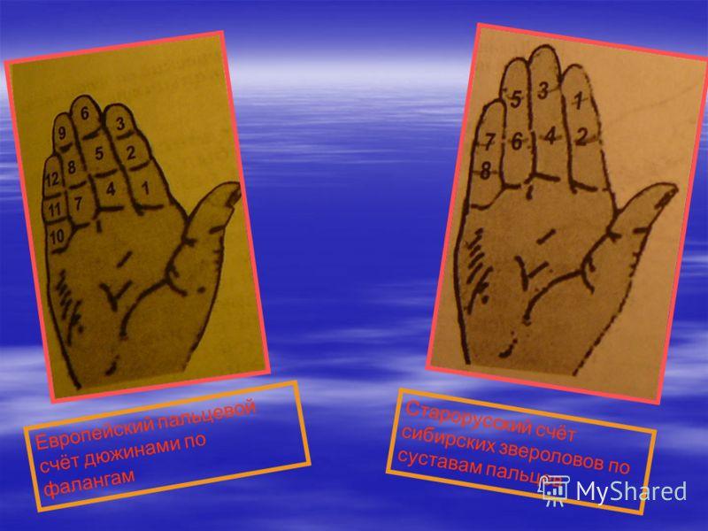 Европейский пальцевой счёт дюжинами по фалангам Старорусский счёт сибирских звероловов по суставам пальцев