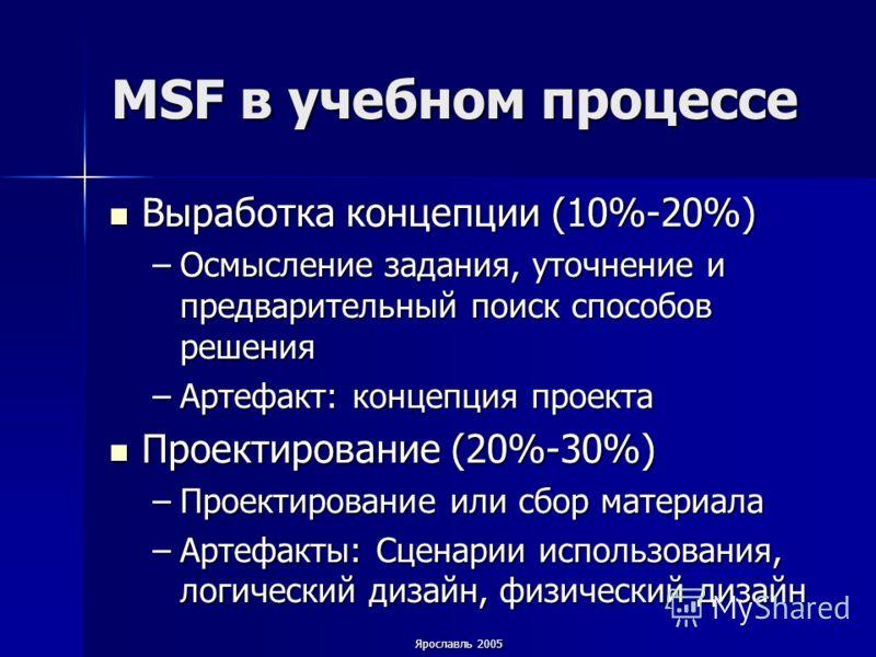 Ярославль 2005 MSF в учебном процессе Выработка концепции (10%-20%) Выработка концепции (10%-20%) –Осмысление задания, уточнение и предварительный поиск способов решения –Артефакт: концепция проекта Проектирование (20%-30%) Проектирование (20%-30%) –