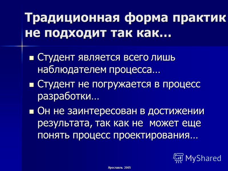 Ярославль 2005 Традиционная форма практик не подходит так как… Студент является всего лишь наблюдателем процесса… Студент является всего лишь наблюдателем процесса… Студент не погружается в процесс разработки… Студент не погружается в процесс разрабо