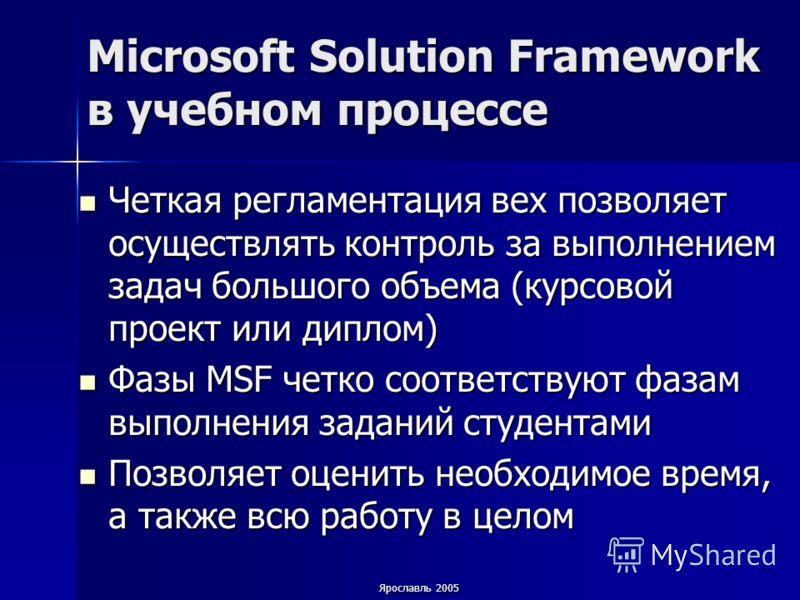 Ярославль 2005 Microsoft Solution Framework в учебном процессе Четкая регламентация вех позволяет осуществлять контроль за выполнением задач большого объема (курсовой проект или диплом) Четкая регламентация вех позволяет осуществлять контроль за выпо