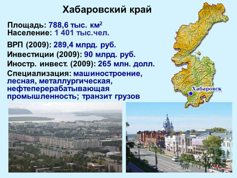 Площадь: 788,6 тыс. км 2 Население: 1 401 тыс.чел. ВРП (2009): 289,4 млрд. руб. Инвестиции (2009): 90 млрд. руб. Иностр. инвест. (2009): 265 млн. долл. Специализация: машиностроение, лесная, металлургическая, нефтеперерабатывающая промышленность; тра