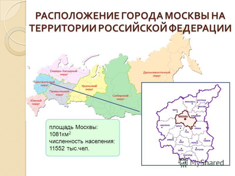 РАСПОЛОЖЕНИЕ ГОРОДА МОСКВЫ НА ТЕРРИТОРИИ РОССИЙСКОЙ ФЕДЕРАЦИИ площадь Москвы: 1081км 2 численность населения: 11552 тыс.чел.