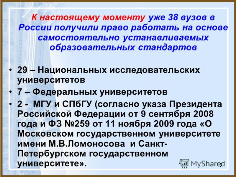 15 К настоящему моменту уже 38 вузов в России получили право работать на основе самостоятельно устанавливаемых образовательных стандартов 29 – Национальных исследовательских университетов 7 – Федеральных университетов 2 - МГУ и СПбГУ (согласно указа