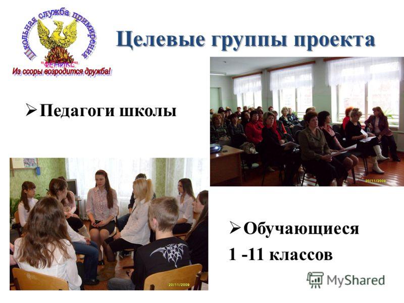 Целевые группы проекта Педагоги школы Обучающиеся 1 -11 классов