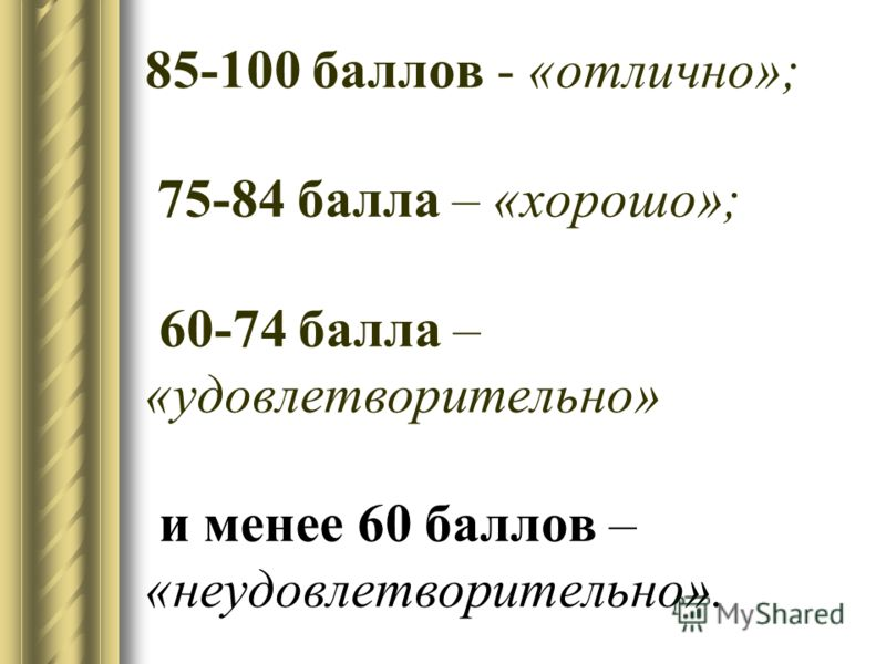 85-100 баллов - «отлично»; 75-84 балла – «хорошо»; 60-74 балла – «удовлетворительно» и менее 60 баллов – «неудовлетворительно».