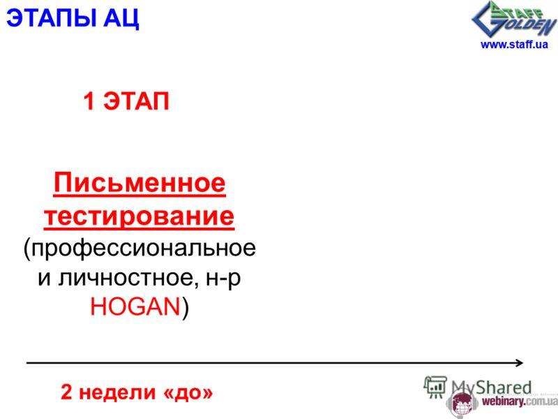 ЭТАПЫ АЦ 2 недели «до» Письменное тестирование (профессиональное и личностное, н-р HOGAN) 1 ЭТАП www.staff.ua