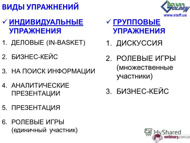 ВИДЫ УПРАЖНЕНИЙ ИНДИВИДУАЛЬНЫЕ УПРАЖНЕНИЯ 1.ДЕЛОВЫЕ (IN-BASKET) 2.БИЗНЕС-КЕЙС 3.НА ПОИСК ИНФОРМАЦИИ 4.АНАЛИТИЧЕСКИЕ ПРЕЗЕНТАЦИИ 5.ПРЕЗЕНТАЦИЯ 6.РОЛЕВЫЕ ИГРЫ (единичный участник) ГРУППОВЫЕ УПРАЖНЕНИЯ 1.ДИСКУССИЯ 2.РОЛЕВЫЕ ИГРЫ (множественные участники