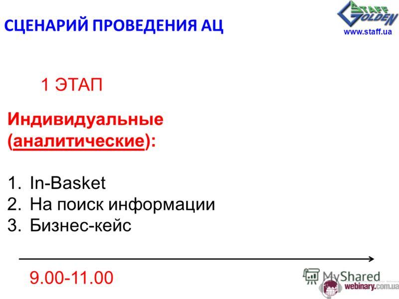 9.00-11.00 Индивидуальные (аналитические): 1.In-Basket 2.На поиск информации 3.Бизнес-кейс 1 ЭТАП www.staff.ua СЦЕНАРИЙ ПРОВЕДЕНИЯ АЦ
