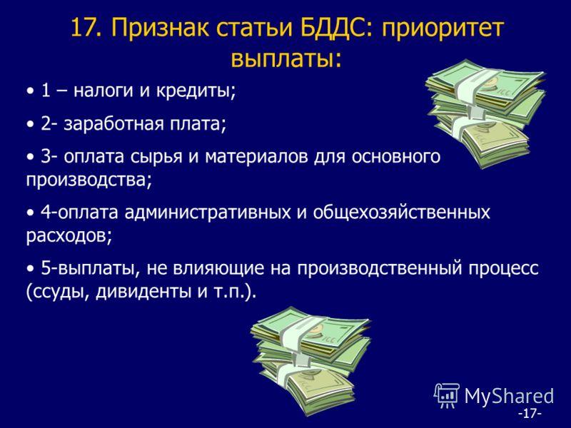 -17- 17. Признак статьи БДДС: приоритет выплаты: 1 – налоги и кредиты; 2- заработная плата; 3- оплата сырья и материалов для основного производства; 4-оплата административных и общехозяйственных расходов; 5-выплаты, не влияющие на производственный пр