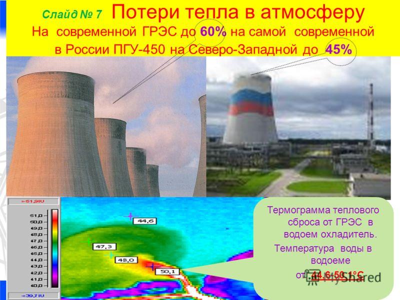 Слайд 7 Потери тепла в атмосферу На современной ГРЭС до 60% на самой современной в России ПГУ-450 на Северо-Западной до 45% Термограмма теплового сброса от ГРЭС в водоем охладитель. Температура воды в водоеме от 44,6-50,1°C