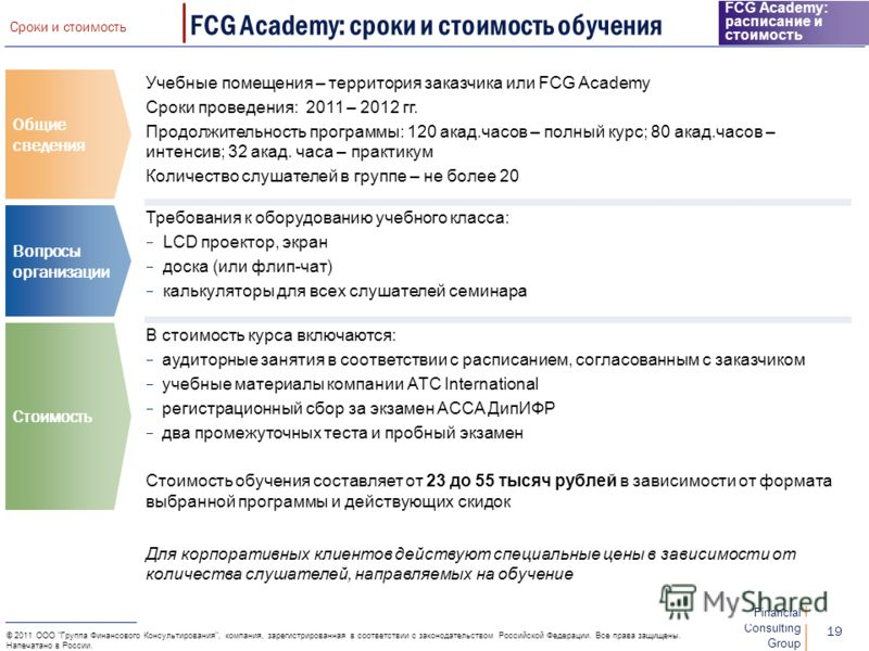 Financial Consulting Group 18 © 2011 ООО