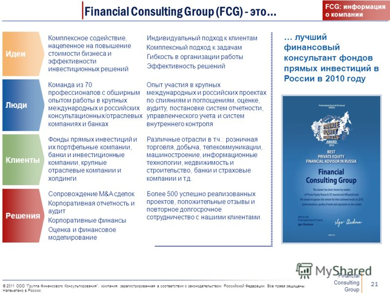 Financial Consulting Group 20 © 2011 ООО